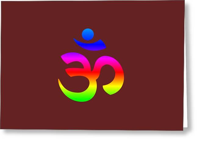 Rainbow Hinduism Symbol Greeting Card by Frederick Holiday
