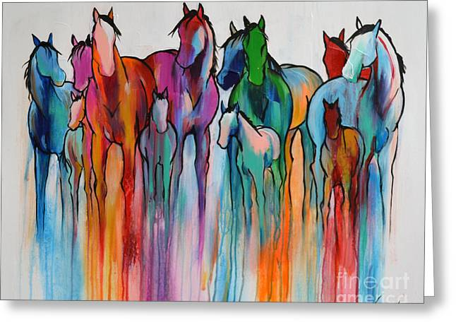 Greeting Card featuring the painting Rainbow Horses by Cher Devereaux