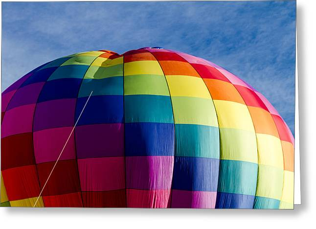 Rainbow Hot Air Balloon Greeting Card by Teri Virbickis