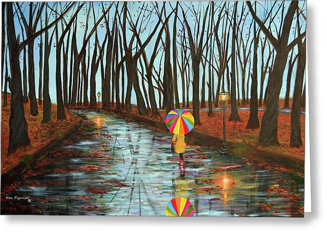 Rainbow In The Park 2 Greeting Card by Ken Figurski