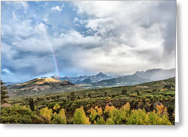 Greeting Card featuring the photograph Rainbow In The San Juan Mountains by Jon Glaser