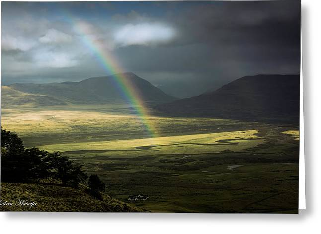 Rainbow In The Valley Greeting Card by Andrew Matwijec