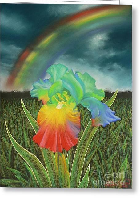 Rainbow Iris Greeting Card by Louise Green