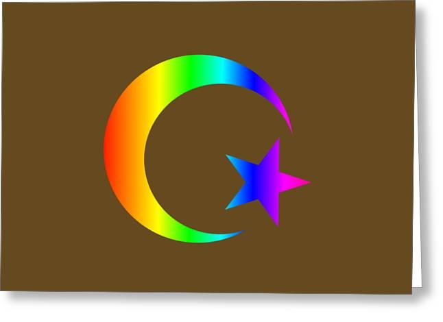 Rainbow Islam Symbol Greeting Card by Frederick Holiday