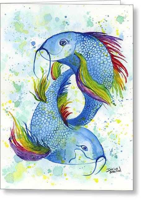 Greeting Card featuring the painting Rainbow Koi by Darice Machel McGuire