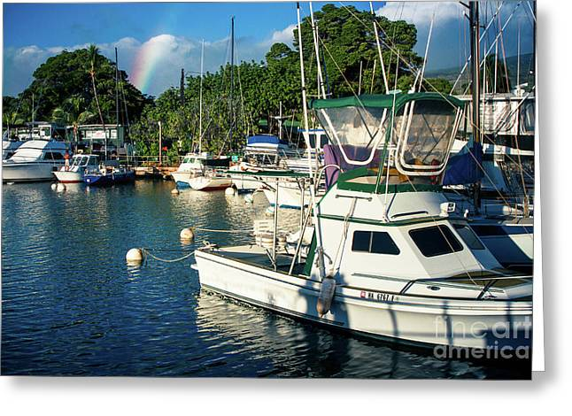 Rainbow Lahaina Marina Maui Hawaii Greeting Card