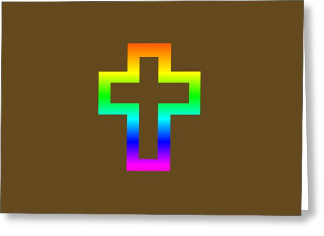Rainbow Latin Cross Symbol Greeting Card by Frederick Holiday