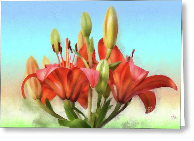 Greeting Card featuring the photograph Rainbow Lilies by Lois Bryan