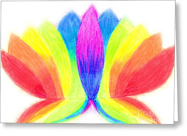 Rainbow Lotus Greeting Card by Chandelle Hazen