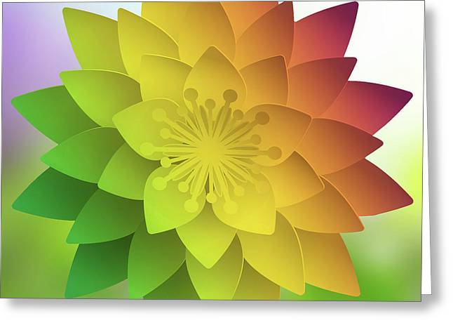 Greeting Card featuring the digital art Rainbow Lotus by Mo T