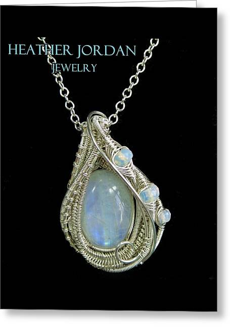Rainbow Moonstone And Sterling Silver Wire-wrapped Pendant With Ethiopian Welo Opals Mnstpss9 Greeting Card by Heather Jordan