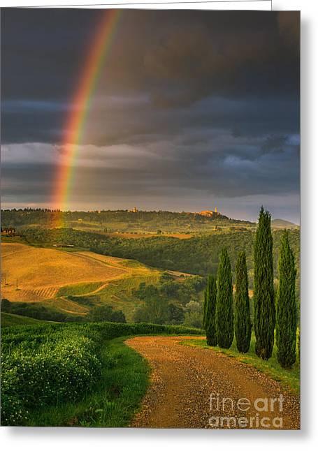 Rainbow Near Pienza, Tuscany, Italy Greeting Card by Henk Meijer Photography
