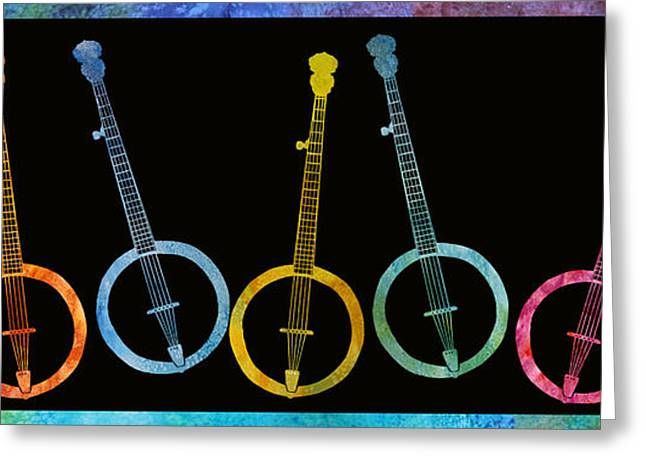 Rainbow Of Banjos Greeting Card by Jenny Armitage