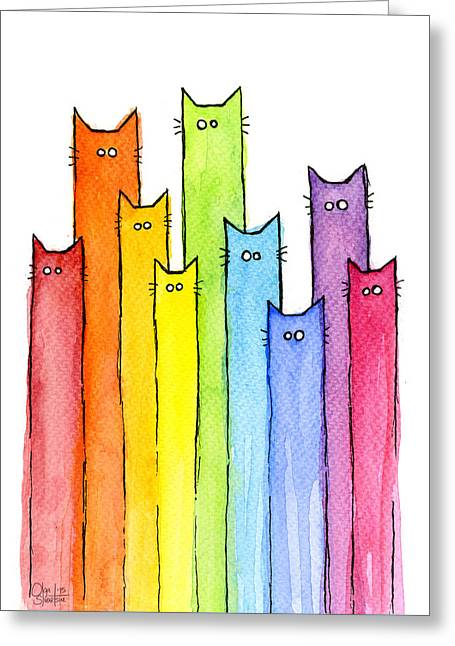 Rainbow Of Cats Greeting Card by Olga Shvartsur