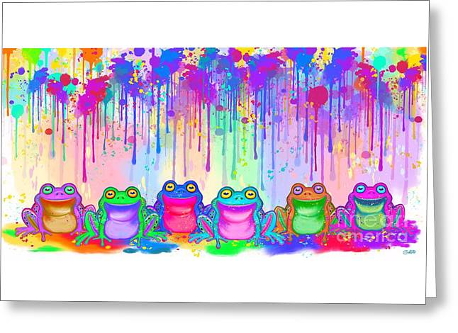 Greeting Card featuring the painting Rainbow Of Painted Frogs by Nick Gustafson