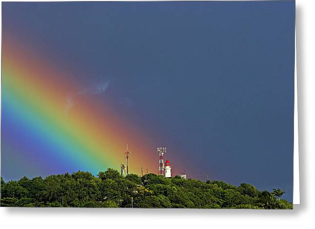 Rainbow On Lighthouse- St Lucia Greeting Card by Chester Williams