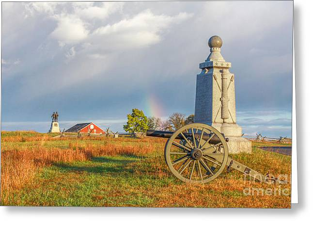 Rainbow On The Gettysburg Battlefield Two Greeting Card