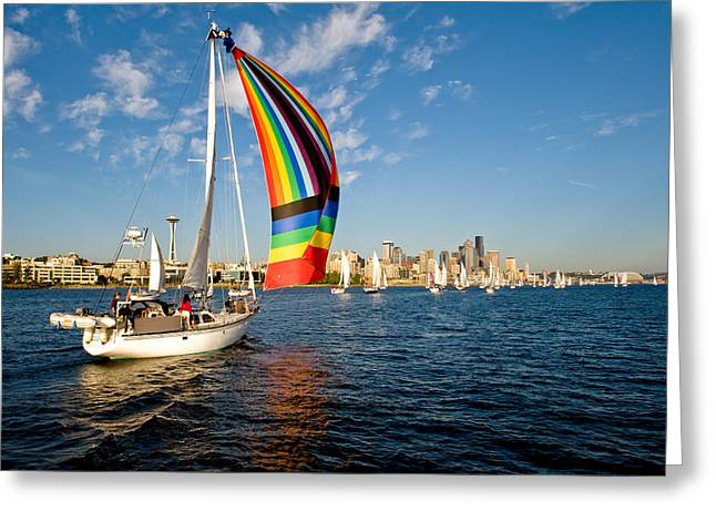Rainbow On The Wind Greeting Card by Tom Dowd