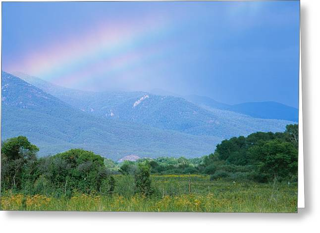 Rainbow Over A Mountain Range, Taos Greeting Card by Panoramic Images