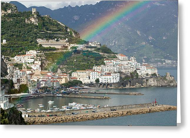 Rainbow Over A Town, Almafi, Amalfi Greeting Card by Panoramic Images