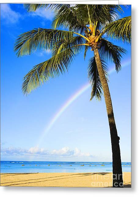 Rainbow Over Ala Moana Greeting Card