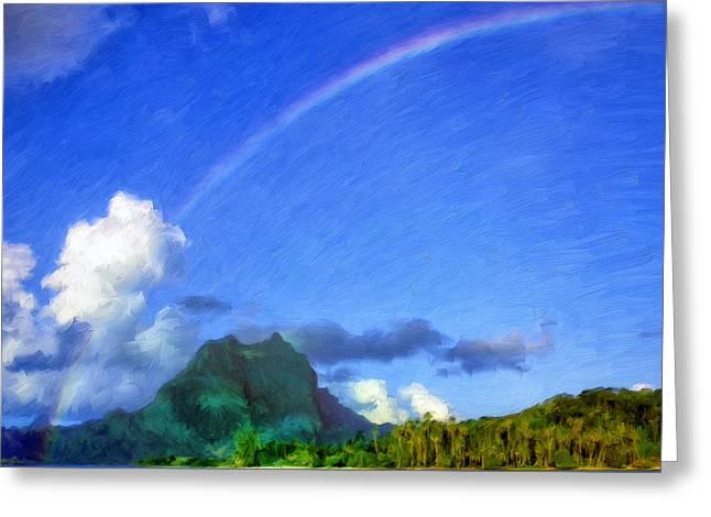 Rainbow Over Bora Bora Greeting Card