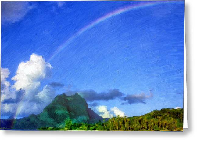Rainbow Over Bora Bora Greeting Card