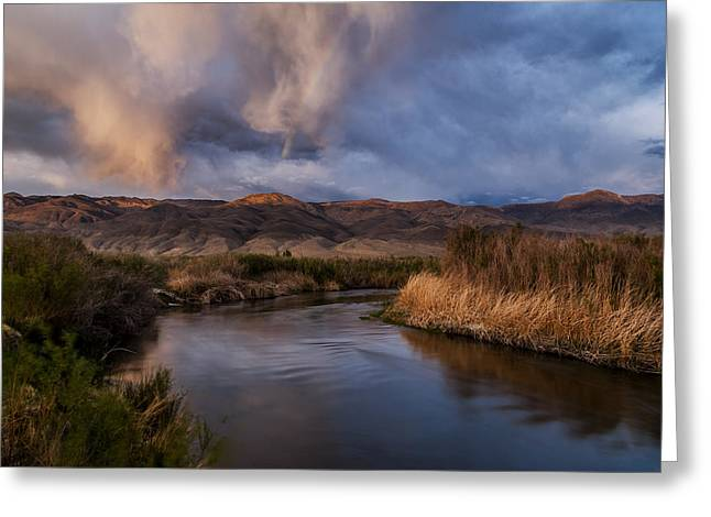 Rainbow Over Lower Owens River Greeting Card by Cat Connor