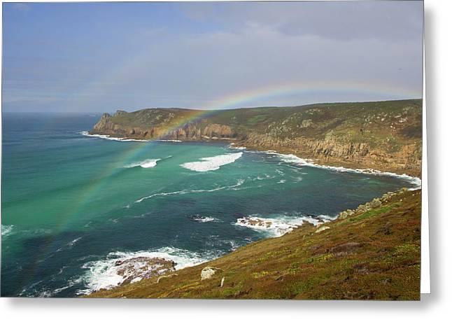 Rainbow Over Nanjizal Bay In Cornwall Greeting Card by Pete Hemington