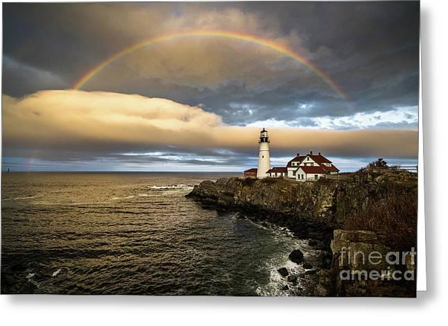 Rainbow Over Portland Head Light Greeting Card by Benjamin Williamson