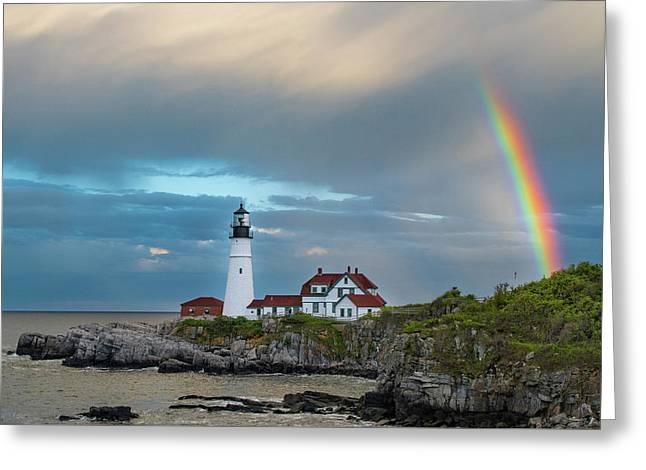 Rainbow Over Portland Head Light Greeting Card