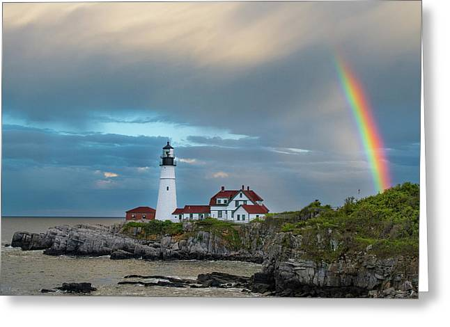 Rainbow Over Portland Head Light Greeting Card