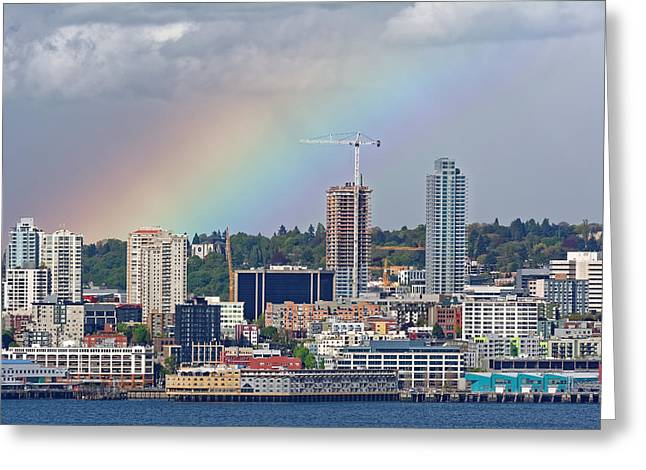 Rainbow Over Seattle Greeting Card