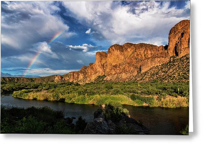 Greeting Card featuring the photograph Rainbow Over The Bulldogs  by Saija Lehtonen