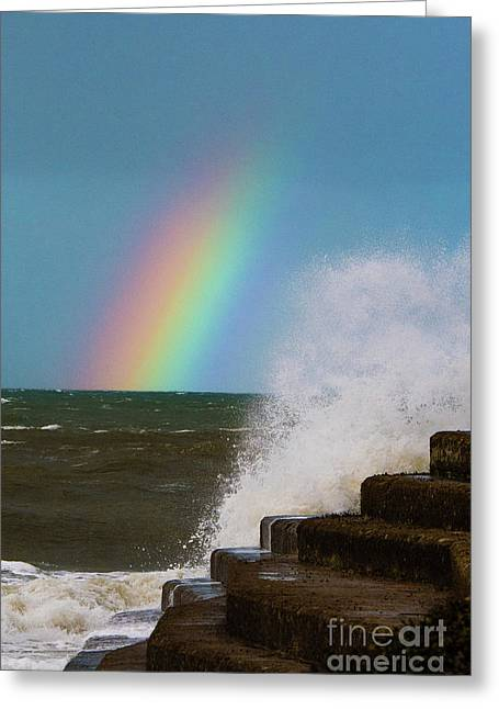 Rainbow Over The Crashing Waves Greeting Card