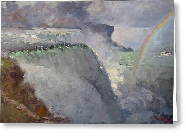 Rainbow Over The Falls Greeting Card