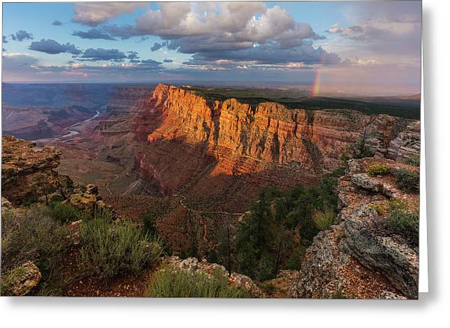 Rainbow Over The Painted Desert Greeting Card by Adam Schallau