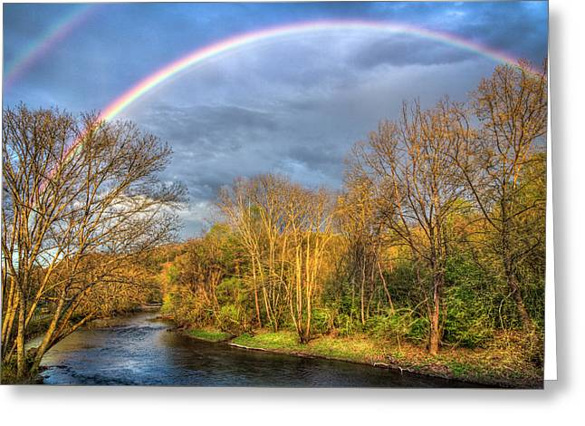 Rainbow Over The River Greeting Card by Debra and Dave Vanderlaan