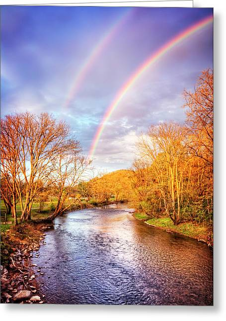 Rainbow Over The River II Greeting Card by Debra and Dave Vanderlaan