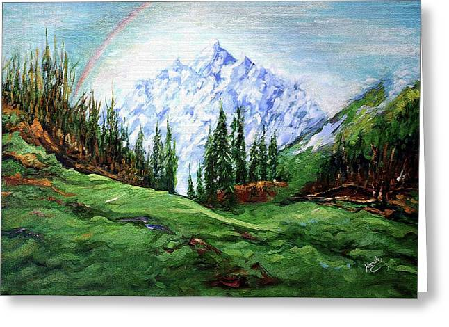 Rainbow Over The Snow Covered Mountain Greeting Card