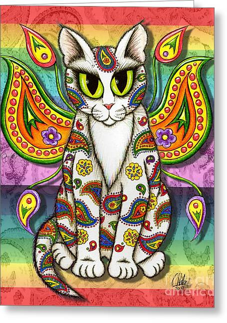 Rainbow Paisley Fairy Cat Greeting Card by Carrie Hawks