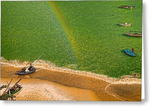 Greeting Card featuring the photograph Rainbow Rain by Kim Wilson