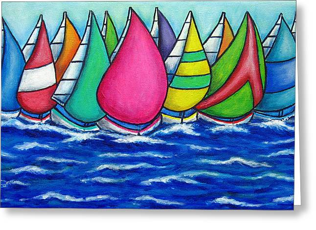 Rainbow Regatta Greeting Card by Lisa  Lorenz