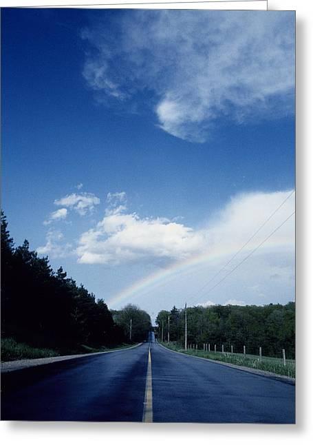 Rainbow Road Blue Sky Greeting Card