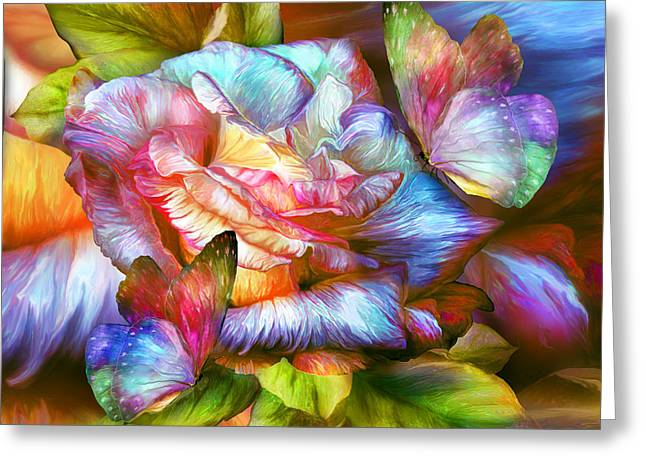 Rainbow Rose And Butterflies Greeting Card