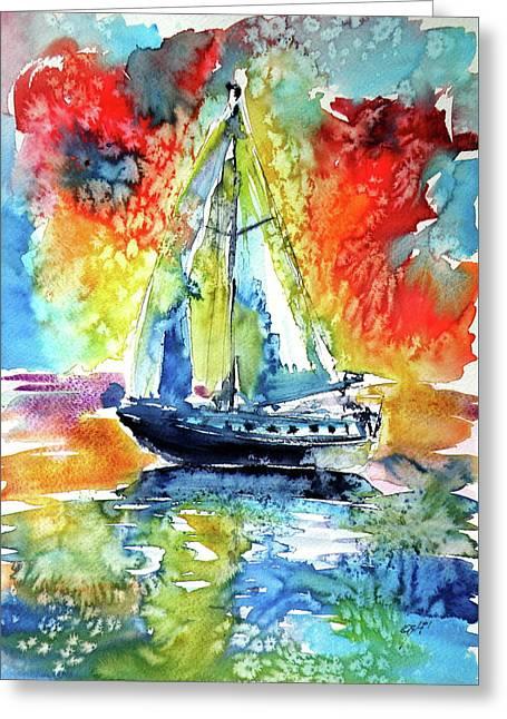 Rainbow Sailboat At Sunset Greeting Card