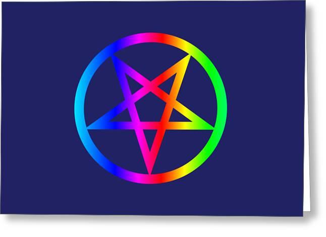 Rainbow Satanism Symbol Greeting Card by Frederick Holiday
