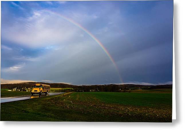 Rainbow School Bus Greeting Card by Seth Dochter