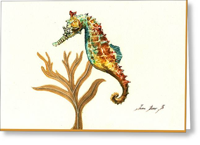 Rainbow Seahorse Greeting Card by Juan Bosco