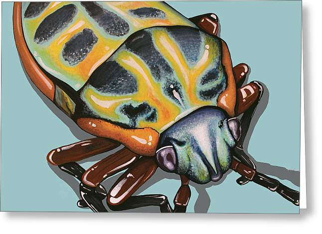 Greeting Card featuring the painting Rainbow Shield Beetle by Jude Labuszewski